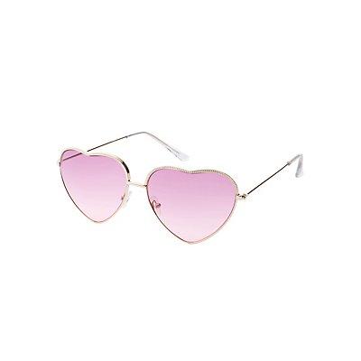 Metal Heart Frame Sunglasses