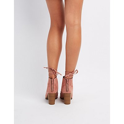 Cut-Out Lace-Up Ankle Booties