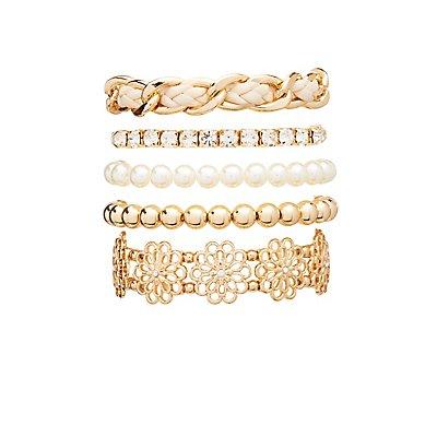 Flower Embellished Layering Bracelets - 5 Pack