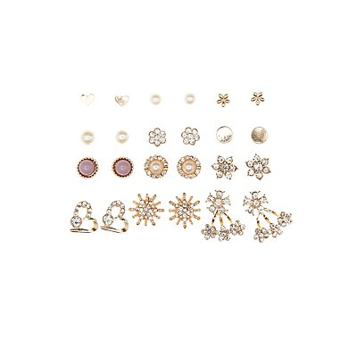 Embellished Ear Jackets & Stud Earrings Set