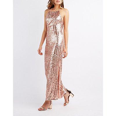 Sequin Bib Neck Maxi Dress