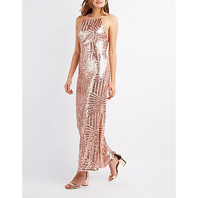 Sequin Bib Neck Maxi Dress