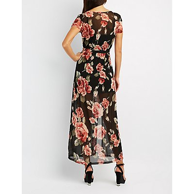 Floral Mesh Surplice Maxi Dress