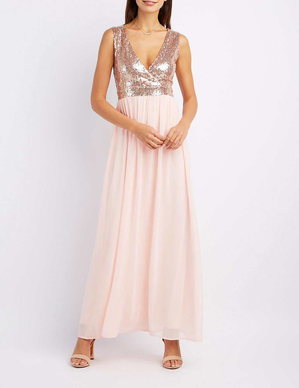 Sequin & Chiffon Maxi Dress | Charlotte Russe