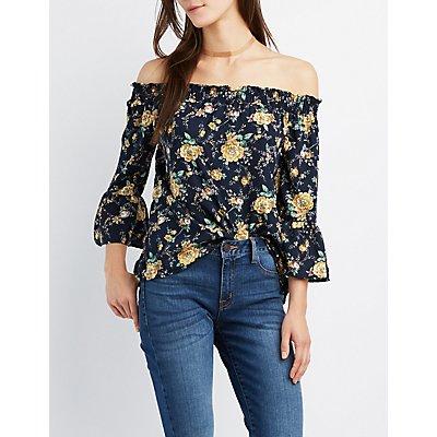 Floral Smocked Off-The-Shoulder Top
