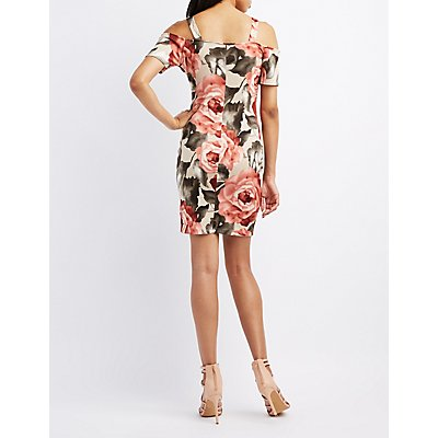 Floral Cold Shoulder Bodycon Dress