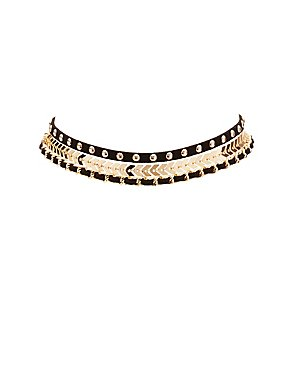 Plus Size Faux Suede & Metal Choker Necklace