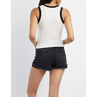 Racerback Cropped Tank Top