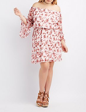 Plus Size Floral Off-The-Shoulder Ruffle Sleeve Dress