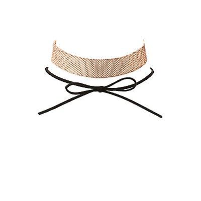 Plus Size Bow & Mesh Choker Necklaces - 2 Pack