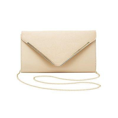 Gold-Tipped Velvet & Faux Leather Crossbag