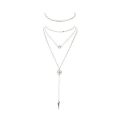 Rhinestone Choker & Layered Lariat Necklace - 2 Pack