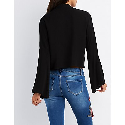 Tie-Neck Bell Sleeve Top