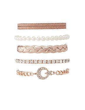 Beaded, Braided & Chainlink Layering Bracelets - 5 Pack