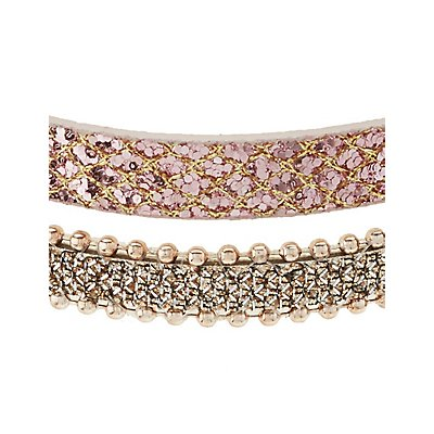 Glitter & Chain Choker Necklaces - 2 Pack