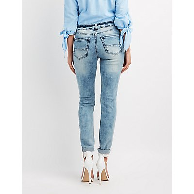 Refuge Marble Wash Destroyed Boyfriend Jeans