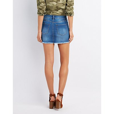 Refuge Distressed Denim Mini Skirt