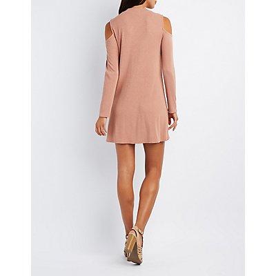 Ribbed Cold Shoulder Shift Dress