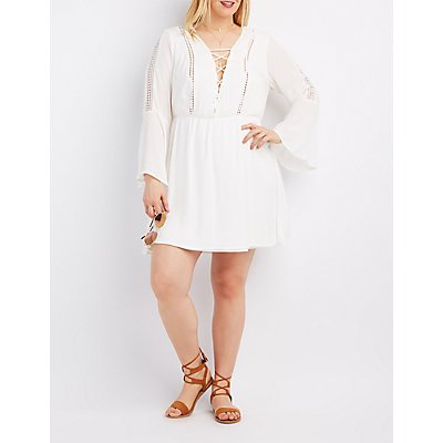 Plus Size Crochet-Trim Lace-Up Skater Dress