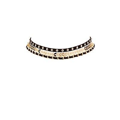 Faux Suede & Metal Choker Necklaces - 3 Pack