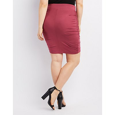Plus Size Ruched Wrap Skirt