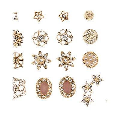 Embellished Starburst Stud Earrings - 12 Pack