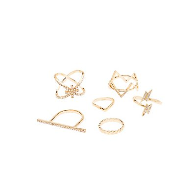 Embellished Stackable Rings & Midi Rings - 6 Pack