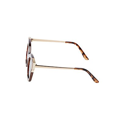 Tortoise Shell Reflective Sunglasses