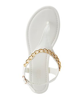Wide Width Chain-Trim T-Strap Sandals