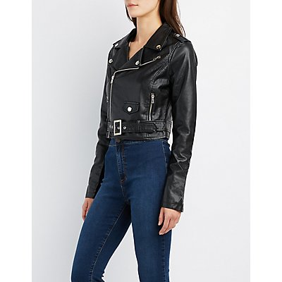Faux Leather Cropped Moto Jacket