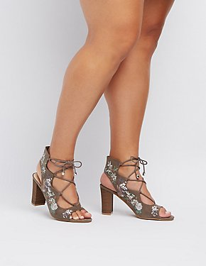 Wide Width Embroidered Lace-Up Sandals