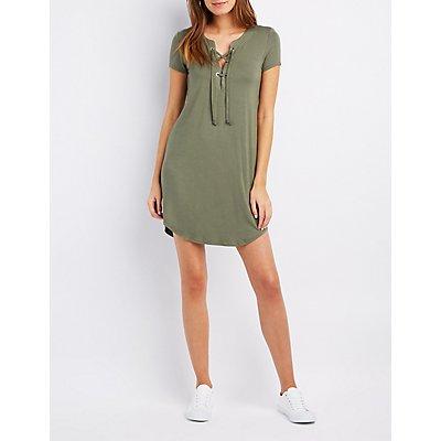 Lace-Up T-Shirt Dress
