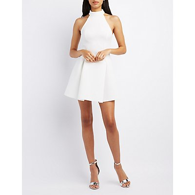Mock Neck Scuba Skater Dress