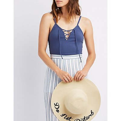 Ribbed Lace-Up Front Tank Top