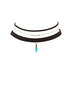 Chainlink & Faux Suede Choker Necklaces - 3 Pack