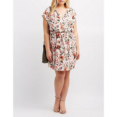 Plus Size Floral Zip-Front Dress