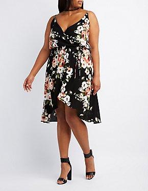 Plus Size Floral Surplice Wrap Dress