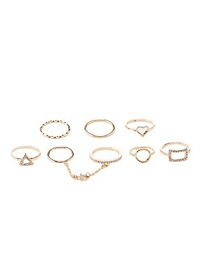Embellished Stackable Rings -7 Pack