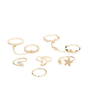 Chain, Star & Rhinestone Rings - 6 Pack