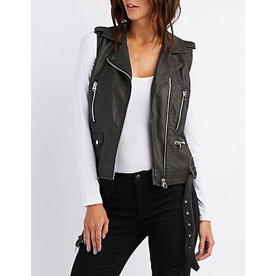 Faux Leather Moto Vest