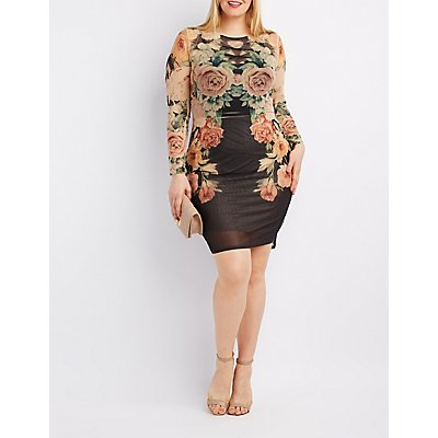 Plus Size Floral Mesh Bodycon Dress