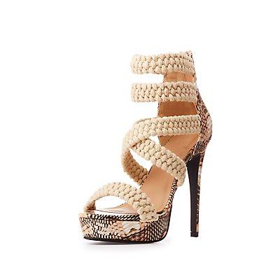 Faux Snakeskin Braided Platform Sandals