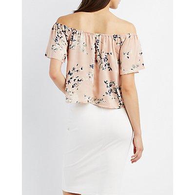 Floral Satin Off-The-Shoulder Top