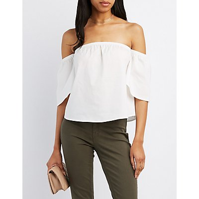 Poplin Off-The-Shoulder Top