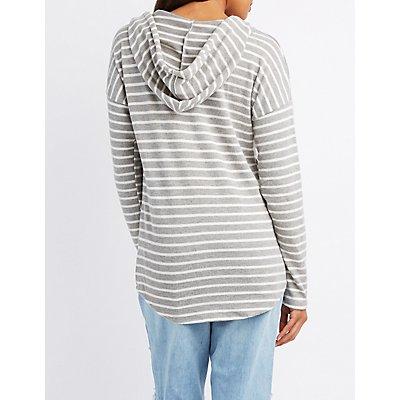 Striped V-Neck Hoodie