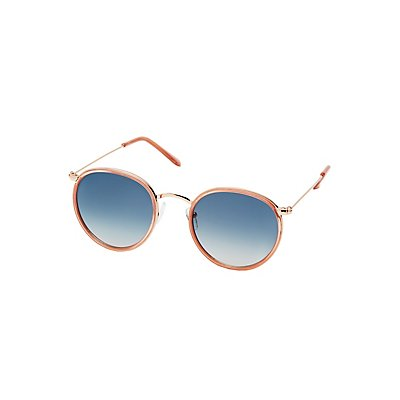 Round Metal-Trim Sunglasses