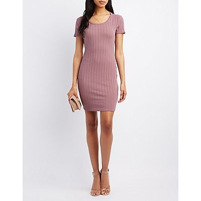 Ribbed Bar Back Bodycon Dress