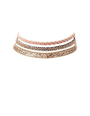 Beaded, Braided & Sequin Choker Necklaces - 3 Pack