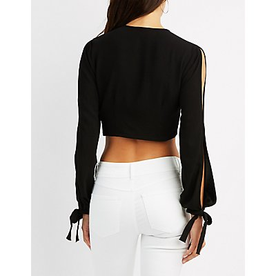 Tie-Front Split Sleeve Crop Top