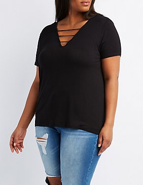 Plus Size Caged V-Neck Boyfriend Tee